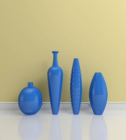 3d rendered interior composition with decorative pottery. photo