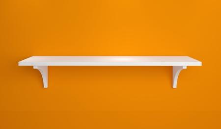 Moderne binnenlandse samenstelling met eenvoudige plank op een muur. Stockfoto