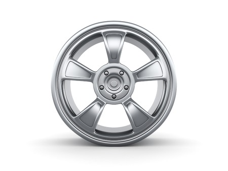 3d rendered car rim isolated on white background. photo