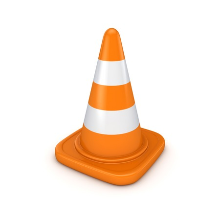 traffic cone: 3d rendered traffic cone isolated on white background.