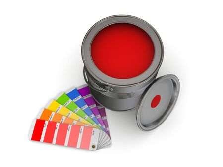 paint can: 3d rendered colour sampler and paint can isolated on white. Stock Photo