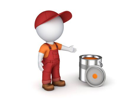 3d rendered worker in a uniform isolated on white.