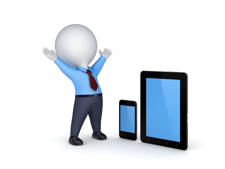 3d small person: Tablet pc, mobile phone and 3d small person.