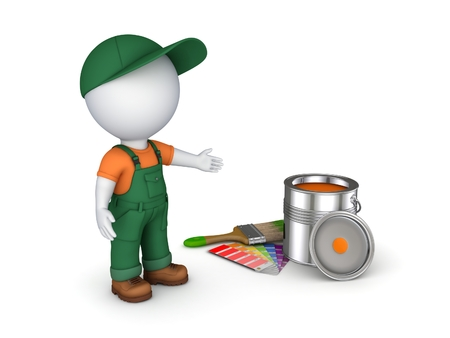 reconditioning: 3d rendered worker in a uniform isolated on white.