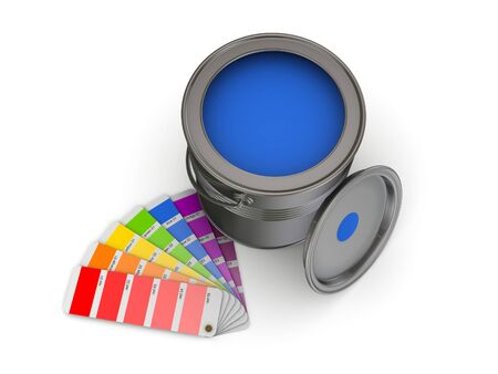 sampler: 3d rendered colour sampler and paint can isolated on white. Stock Photo