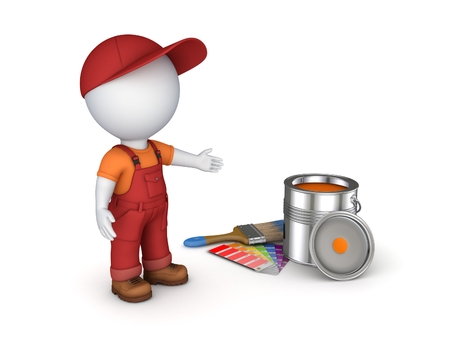 workwear overall: 3d rendered worker in a uniform isolated on white.
