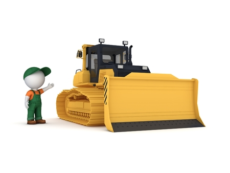 earthmover: 3D rendered yellow bulldozer isolated on white background. Stock Photo