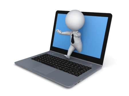 3d small person: 3d small person running out from the screen of notebook. Stock Photo