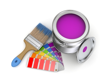 chromatic colour: Realistic 3d rendered brush and colour sampler.