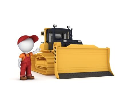 Bulldozer. Isolated on white background 3d rendered illustration.