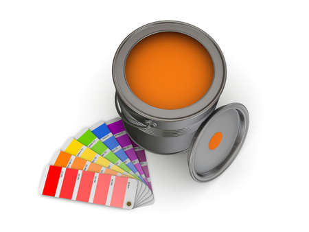 redecoration: 3d rendered colour sampler and paint can isolated on white. Stock Photo