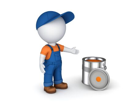 redecoration: 3d rendered worker in a uniform isolated on white.