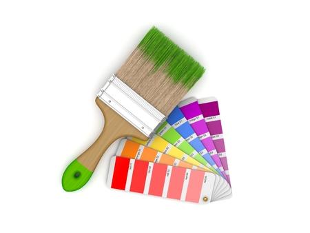 sampler: Realistic 3d rendered brush and colour sampler.