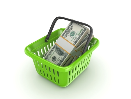pack of dollars: Big pack of dollars in a colourful plastic basket.