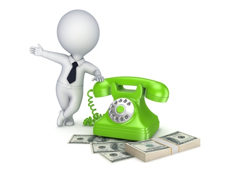 3d small person: 3d small person near vintage telephone and stack of money. Stock Photo
