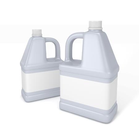 Bottiglia di detersivo Blank. Illustrazione 3d isolato su sfondo bianco.