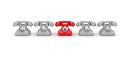 numpad: 3d rendered retro telephones isolated on white. Stock Photo