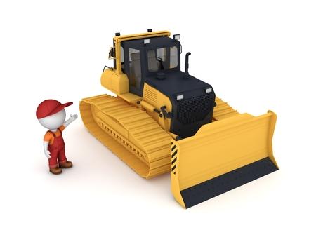 Yellow bulldozer. 3d illustration isolated on white background. Stock Photo