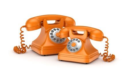 numpad: 3d rendered retro telephones isolated on white background.