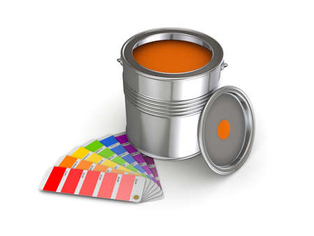 overhaul: 3d rendered colour sampler and paint can isolated on white. Stock Photo