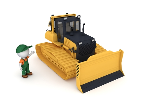 workwear overall: Yellow bulldozer. 3d illustration isolated on white background. Stock Photo