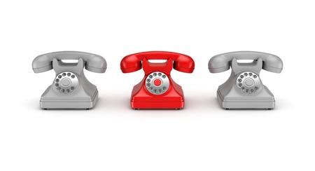 telephones: 3d rendered retro telephones isolated on white background.
