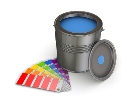 reconditioning: 3d rendered colour sampler and paint can isolated on white. Stock Photo