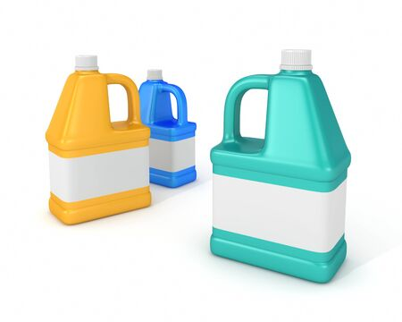 bleach: Blank detergent bottle. 3d illustration isolated on white background. Stock Photo