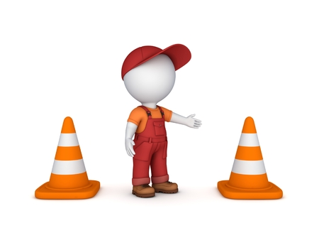 3d small person: 3d small person and traffic cones.Isolated on white background.3d rendered.