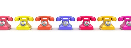 numpad: 3d rendered retro telephone isolated on white background. Stock Photo