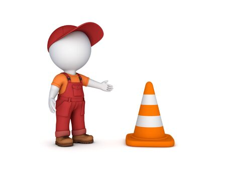 3d small person: 3d small person and traffic cone.Isolated on white background.3d rendered.