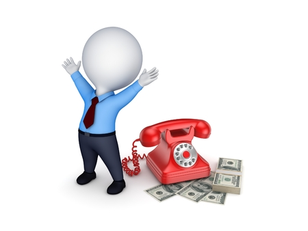 3d small person: Happy 3d small person near telephone and stack of dollars. Stock Photo