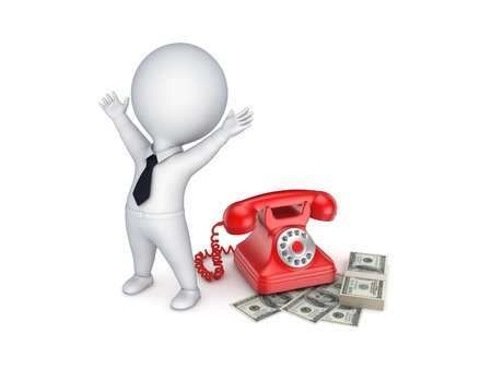 numpad: Happy 3d small person near telephone and stack of dollars. Stock Photo