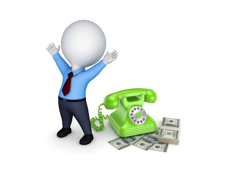 happy 3d: Happy 3d small person near telephone and stack of dollars. Stock Photo