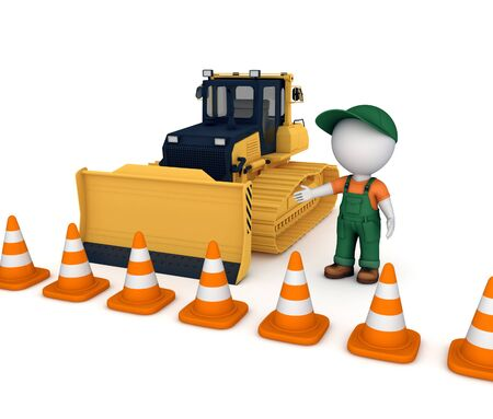 tractor warning sign: Yellow bulldozer near traffic cones and 3d small person.