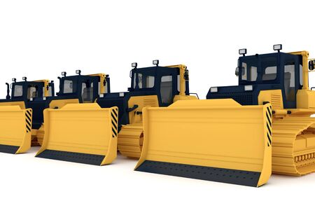 yellow tractors: Yellow bulldozers.3d illustration isolated on white background.