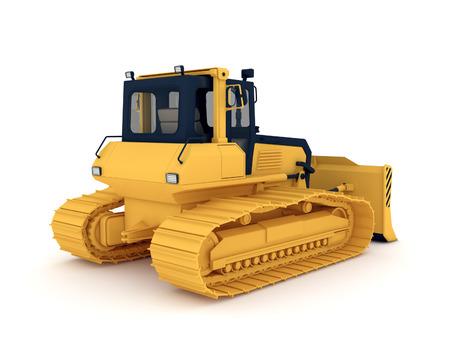 Yellow bulldozer. 3d illustration isolated on white background. illustration