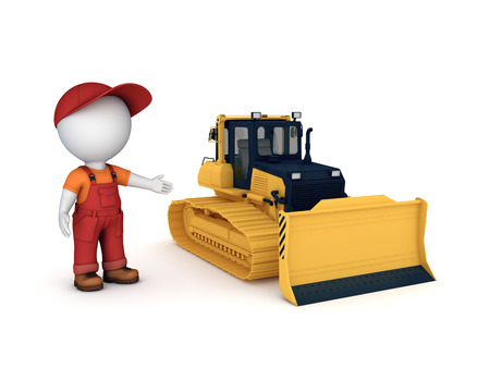 earthmover: Yellow bulldozer. 3d illustration isolated on white background. Stock Photo
