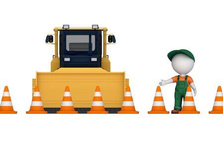3d small person: Yellow bulldozer near traffic cones and 3d small person.