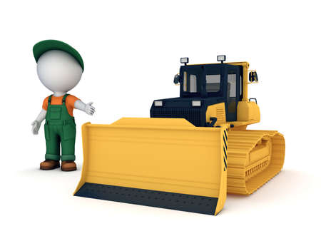 workwear overall: Yellow bulldozer.3d illustration isolated on white background. Stock Photo