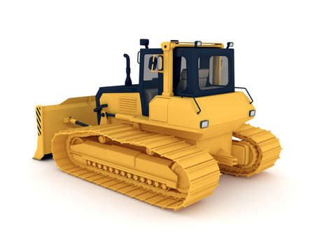 yellow tractors: Yellow bulldozer. 3d illustration isolated on white background. Stock Photo