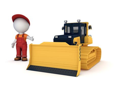 Yellow bulldozer.3d illustration isolated on white background. Stock Photo