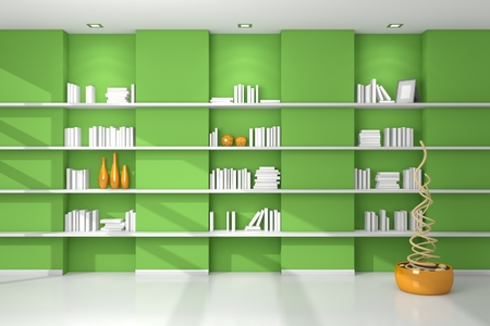 Realistic 3d rendered modern shelves with empty books and decorations.