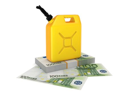 pile engine: Colorful gasoline jerrycan and pack of euro. Isolated on white background.