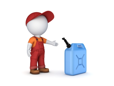 3d small person: Colorful gasoline jerrycan and 3d small person. Isolated on white background.