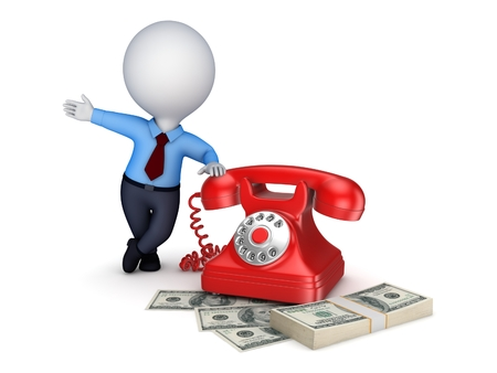 numpad: 3d small person near vintage telephone and stack of money. Stock Photo