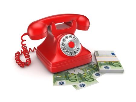 numpad: Vintage telephone and big pack of money.
