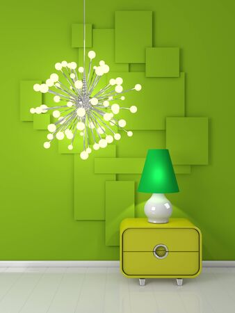 interiour: 3d rendered interiour composition with unusual modern lamp. Stock Photo