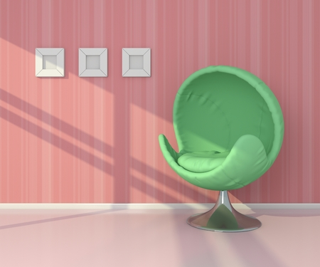 interiour: 3d rendered interiour composition with modern green armchair.