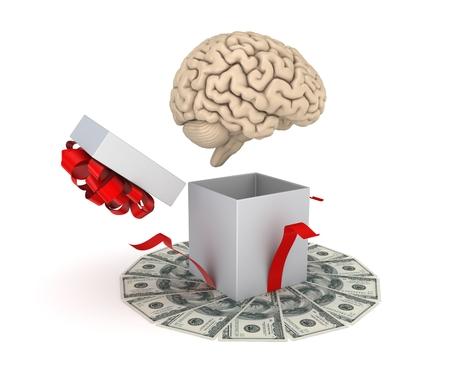 cerebra: Human brain at a gift box and big pack of dollars. Stock Photo